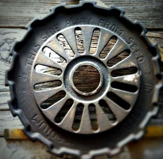 "8"" Antique Iron Wheel,  Vtg Industrial Machine Age Steampunk Art Decor Metal Gear photo"
