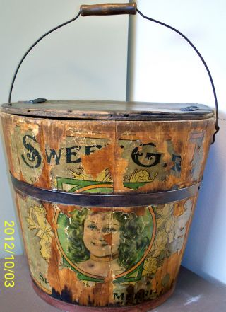 Antique 1910 Large Primitive Firkin Sweet Girl Tobacco Pail Spaulding & Merrick photo