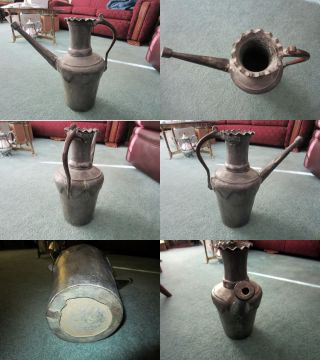 Old Primitive Water Can Copper Hand Made Unusual photo