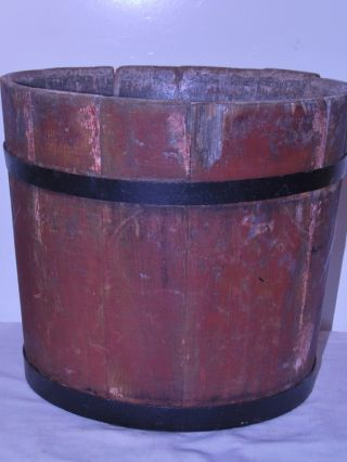 Antique Wooden Well Water Bucket Blacksmith Forged Rings C1800 ' S Hand Made photo