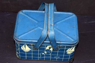 Handled Tin Lunch Pail W/blue Lithographing Of 1940 ' S Usa Sailors,  Boats Continen photo