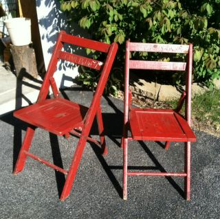 2 Wood Folding Chairs C.  1900 Barn Paint photo