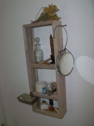 Vintage Inspired Hanging Wood Bathroom Shaving Shelf photo
