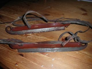 Old Antique Swedish Ice Skates Of Wood & Iron Sweden photo