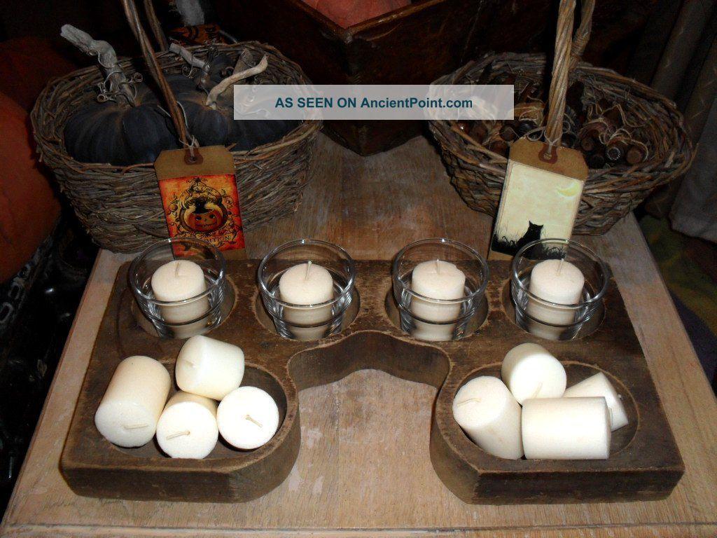 Antique Primitive Wood Wooden Cash Register Drawer Box Tray Bowl Candle Holder Primitives photo