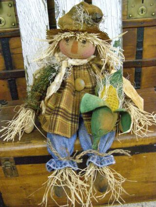 Primitive Fall Scarecrow Doll Corn On Cob Folk Art Harvest Scarecrow Doll Corn photo