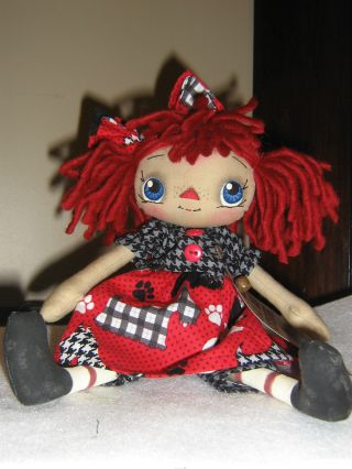 Primitive Raggedy Ann Ie Scotty Dog Doll/tag photo