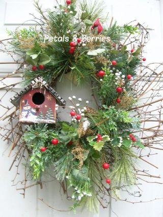 Country Christmas,  Winter Holiday Rustic Door Wreath Arrangement photo