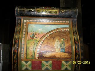 Rare Antique Gun Powder Japanese Tea Coffee Tin Painted General Store photo