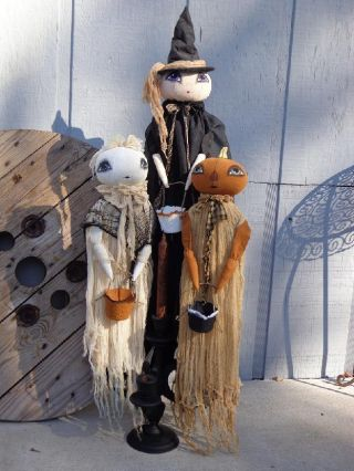 Primitive Halloween Decor Pumpkin Ghost Witch Ooak Nr Sisters Prim And Rose Orig photo