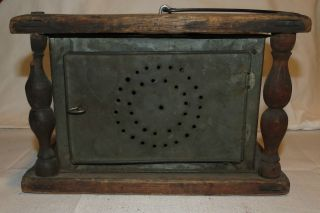 Antique 1880s Primitive Pierced Tin And Wood Foot Warmer 19th Century Carriage photo