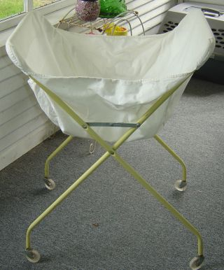 Antique Vintage Laundry Yellow Metal Cart Collapsable Basket Liner photo