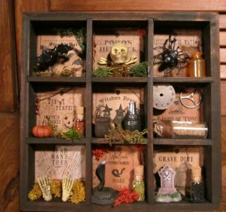 Primitive Country Halloween Witch Shadow Box Skull Bat Skeleton Snake Potion photo