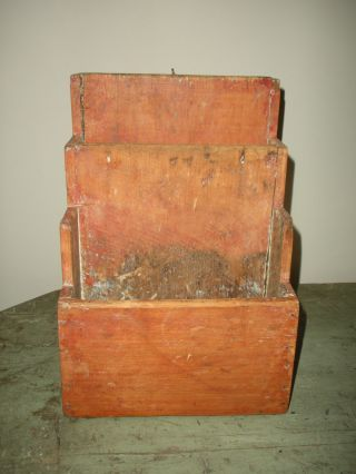 Old 3 Sectioned Dovetailed Table Box In Red Wash photo
