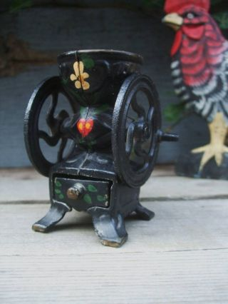Old Mini Black Cast Iron Coffee Grinder/spice Mill - Toleware photo
