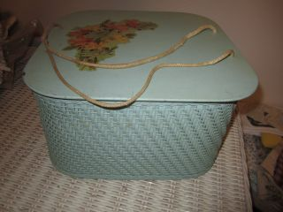 Vintage Princess Seafoam Green Square Wicker Sewing Basket photo