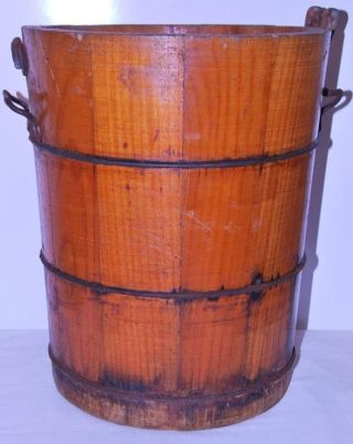 Antique Wooden Bucket Wrought Forged Rings Dovetailed Wooden Slats photo