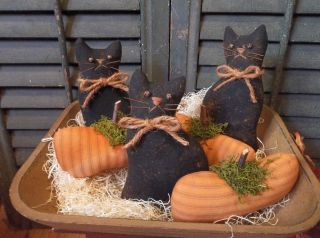 Gathering Of Primitive Handmade Pumpkins And Black Cats - Bowl Fillers/ornaments photo