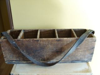 Antique Early Primitive Wooden Tote Box Carrier Tool Divided Country Display Nr photo