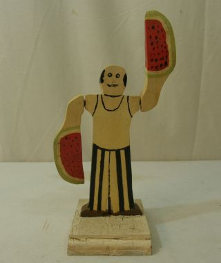Amusing American Folk Art Whirligig Man Carved Watermelon Arm Paddles Ca 1945 - 55 photo