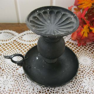 Antique Chamber Candle Holder Black Painted Metal & Wood photo
