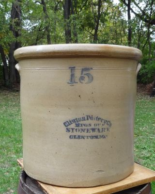 Antique Clinton Pottery Co.  15 Gallon Crock - Clinton Mo.  - Old Missouri Stoneware photo