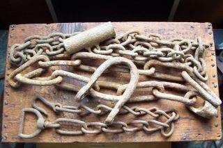 Antique Hand Forged Iron Chains And Hooks Great Old Farm Find About 10 Lbs. photo