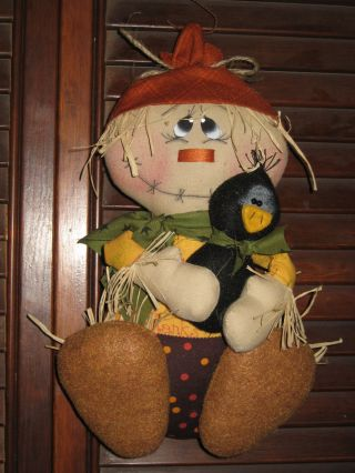 Primitive Hc Fall Hanging Harvest Halloween Scarecrow Doll W/ Crow Ornie Tuck photo