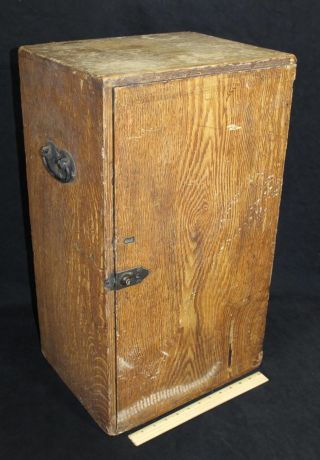 Antique Mid - 19thc Folk Art Grain Painted Desk Cupboard Fitted Interior,  Drawers photo