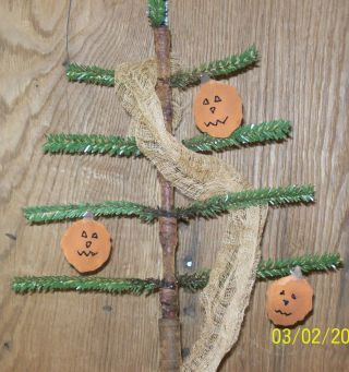 Primitive Fall/ Halloween Faux Feather Tree With Pumpkin Ornies photo