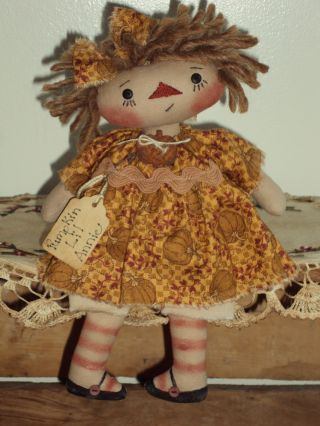 Primitive Raggedy Ann Prim Pumpkin Lil Rag Doll Annie photo