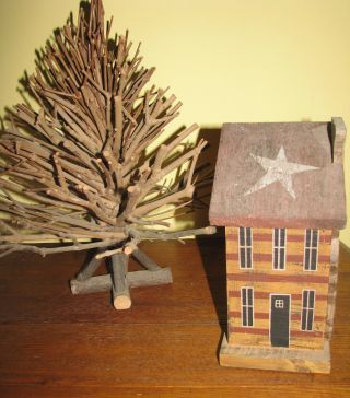 Primitive Folk Art Twig Tree W/ Wood House In Redware Colors photo