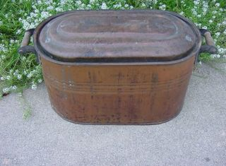 Antique/vintage Copper Boiler With Lid & Handles Metalware Copper Free Us Ship photo