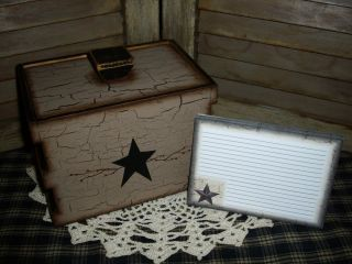 Primitive Wood Recipe Box W/ 20 Cards Tan & Black Crackle Star Farmhouse Decor photo