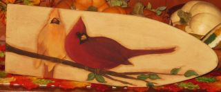 ~ Primitive ~ Hp Folk Art Pair Of Cardinals ~ Stretcher photo
