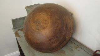 19th C Large Early Old Wooden Wood Dough Bowl With Rare Double Rim 16.  5