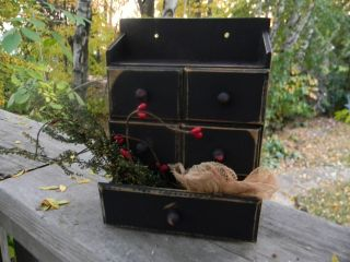 Primitive Sm.  Vtg Wooden 5 Drawer Spice Box,  Notions,  Apothecary Cabinet~pantry photo