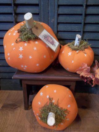 Gathering Of Three Prim Handmade Pumpkins - Fall/harvest/halloween Decoration photo