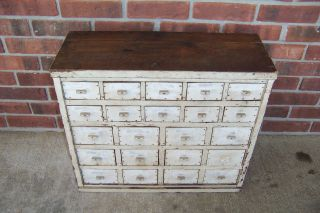 Antique Early Primitive Painted Wooden Apothecary Cabinet 22 Drawer 1800s photo