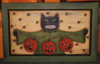 ~ Primitive ~ Hp Folk Art Black Cat With Pumpkin Garland ~ Door Panel photo