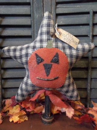 Primitive Halloween Make - Do - Jack - O - Lantern On Primitive Star photo