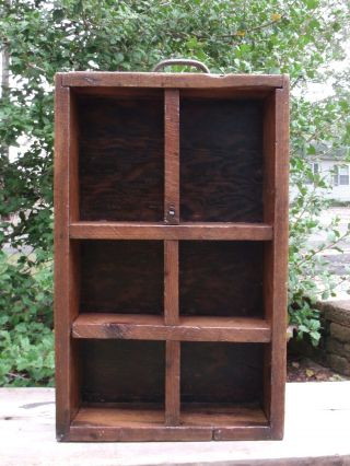 Vintage Wooden 6 Cubbyhole Display Shelf Wood Box Dividers Old Shadowbox Rustic photo