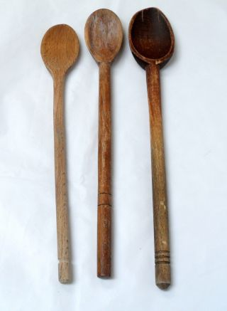 3 Primitive Farmhouse Wood Spoons,  13