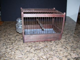 Antique Wooden & Wire Canary Cage With Glass Feeding Cups - 10 3/4 X 8 X 7 1/2