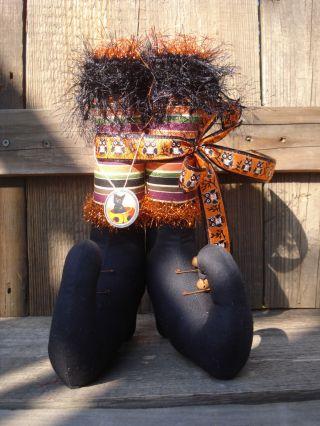 Primitive~halloween~owl~purple~orange~green~black~minnie~witch Boots photo