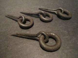 (4) 18th Early 19th C Century Antique Forged Iron Drawer Pulls Handle Loops photo