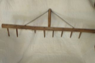 Head Of Primtive,  Old Rake - - - Wooden Tines Or Tongs photo