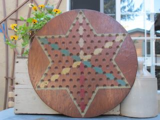 Antique Game Board,  Chinese Checkers,  Handmade And Handpainted photo