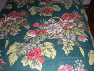 Antique Vintage Cotton Barkcloth Drapery Panel C1940 Forest Green Large Floral photo