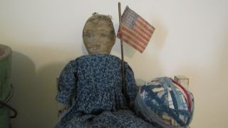 Wonderful Late 19th C Early Old Antique Stuffed Cloth Rag Doll Blue Calico Dress photo
